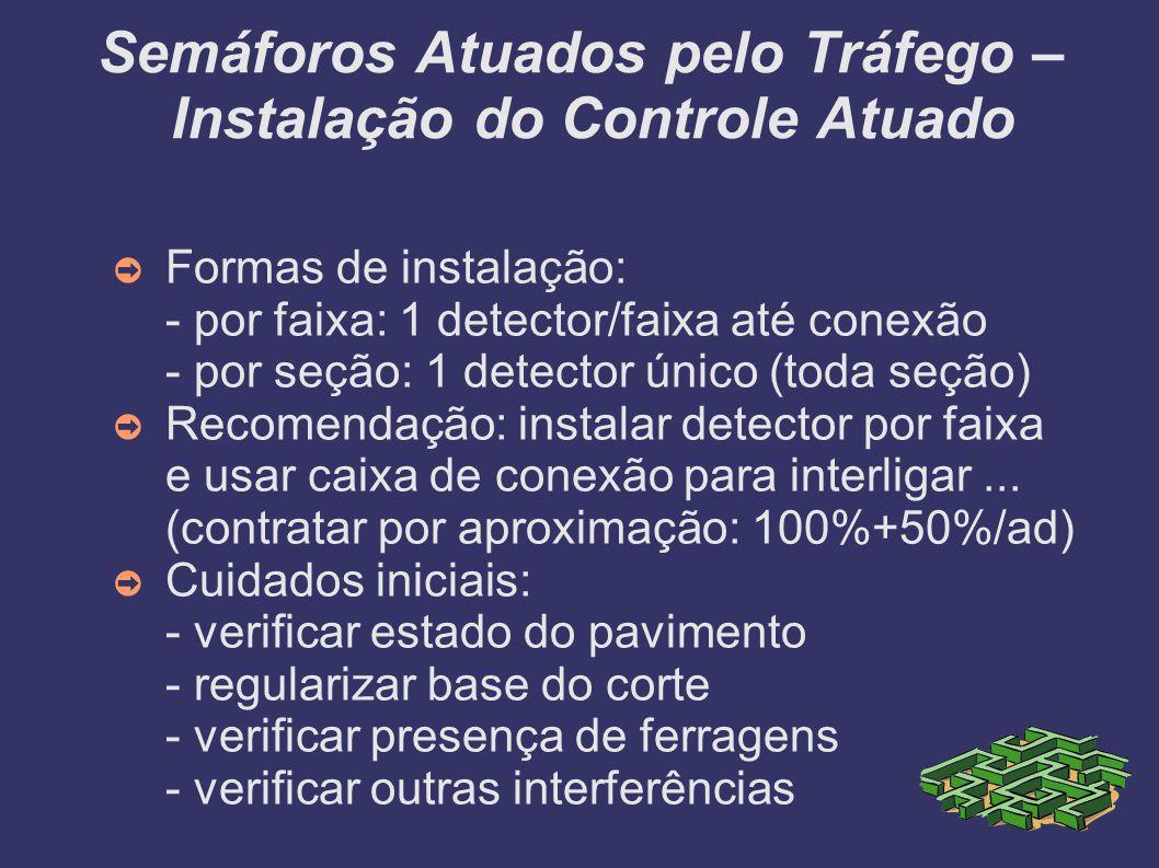 Semáforos Atuados pelo Tráfego – Instalação do Controle Atuado Formas de instalação: - por faixa: 1 detector/faixa até conexão - por seção: 1 detector