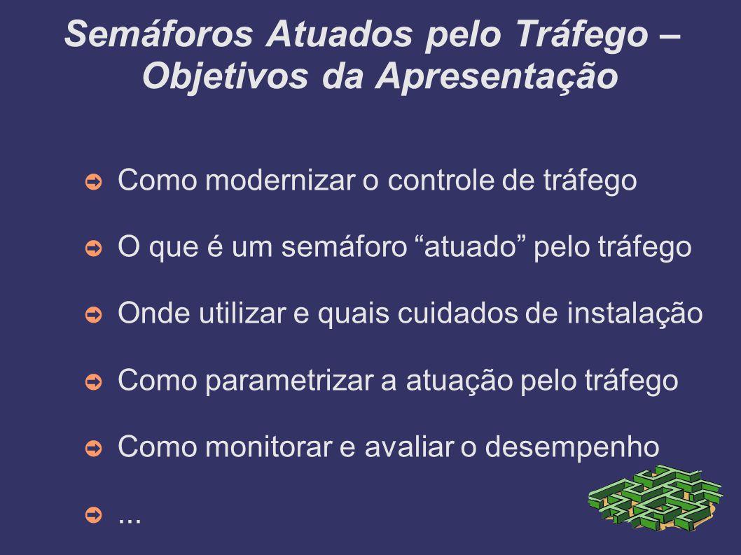 Semáforos Atuados pelo Tráfego – Objetivos da Apresentação Como modernizar o controle de tráfego O que é um semáforo atuado pelo tráfego Onde utilizar