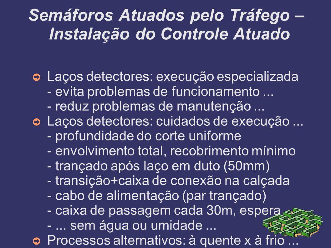 Semáforos Atuados pelo Tráfego – Instalação do Controle Atuado Laços detectores: execução especializada - evita problemas de funcionamento... - reduz