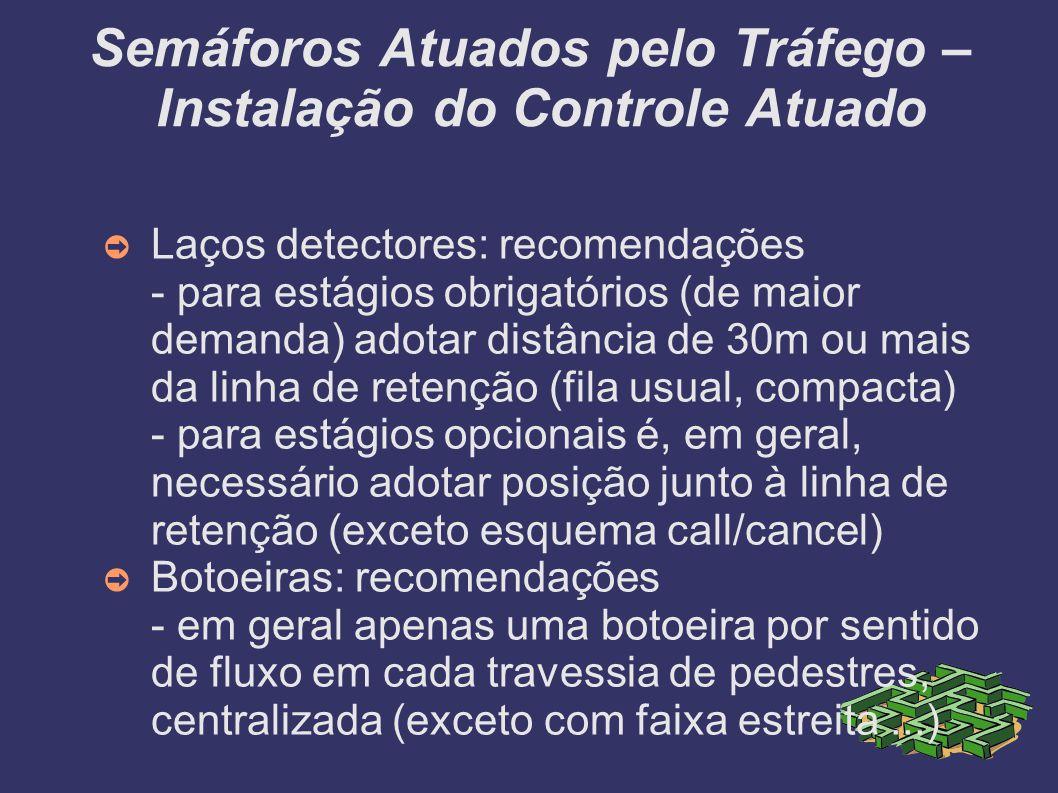 Semáforos Atuados pelo Tráfego – Instalação do Controle Atuado Laços detectores: recomendações - para estágios obrigatórios (de maior demanda) adotar