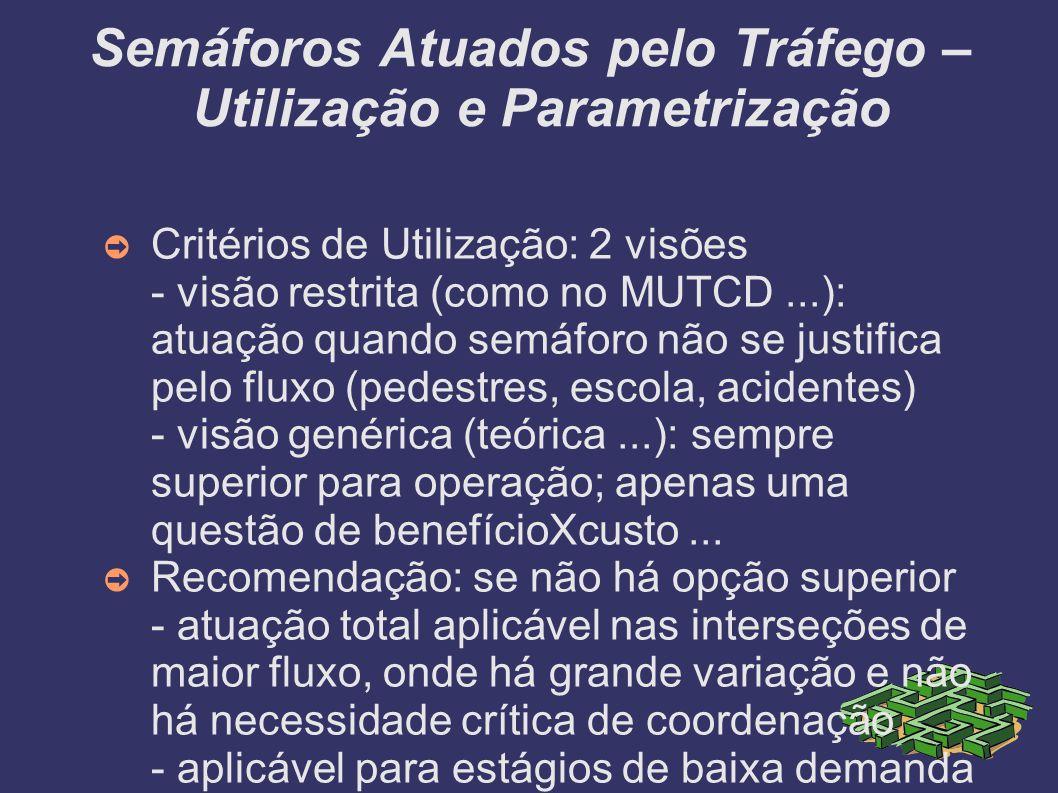 Semáforos Atuados pelo Tráfego – Utilização e Parametrização Critérios de Utilização: 2 visões - visão restrita (como no MUTCD...): atuação quando sem