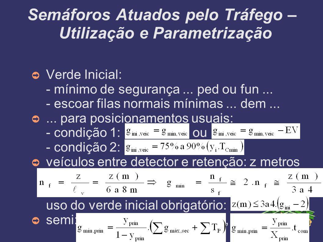 Semáforos Atuados pelo Tráfego – Utilização e Parametrização Verde Inicial: - mínimo de segurança... ped ou fun... - escoar filas normais mínimas... d