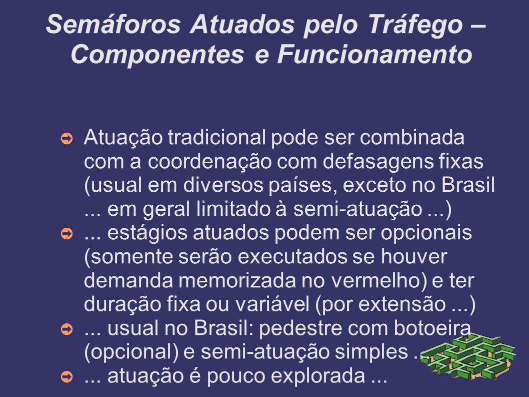 Semáforos Atuados pelo Tráfego – Componentes e Funcionamento Atuação tradicional pode ser combinada com a coordenação com defasagens fixas (usual em d