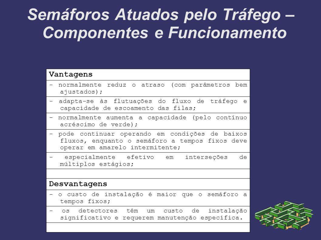Semáforos Atuados pelo Tráfego – Componentes e Funcionamento Vantagens - normalmente reduz o atraso (com parâmetros bem ajustados); - adapta-se às flu