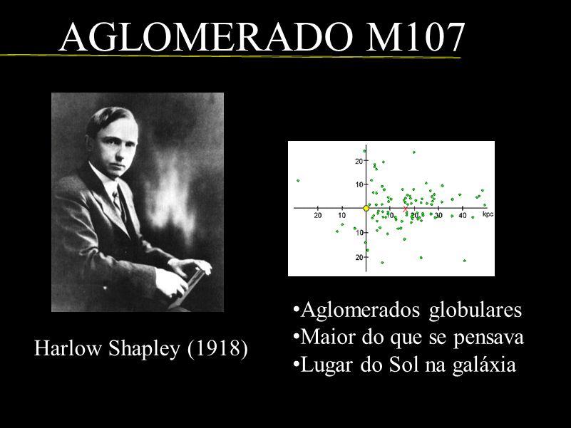 Harlow Shapley (1918) Aglomerados globulares Maior do que se pensava Lugar do Sol na galáxia AGLOMERADO M107