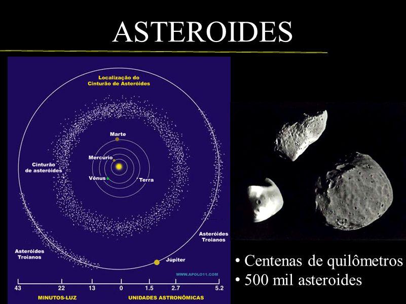 ASTEROIDES Centenas de quilômetros 500 mil asteroides