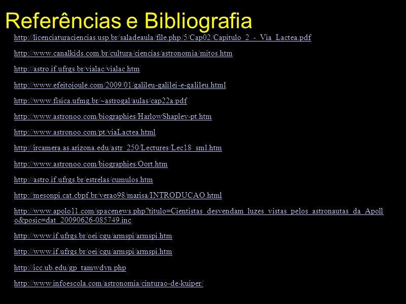 Referências e Bibliografia http://licenciaturaciencias.usp.br/saladeaula/file.php/5/Cap02/Capitulo_2_-_Via_Lactea.pdf http://www.canalkids.com.br/cult