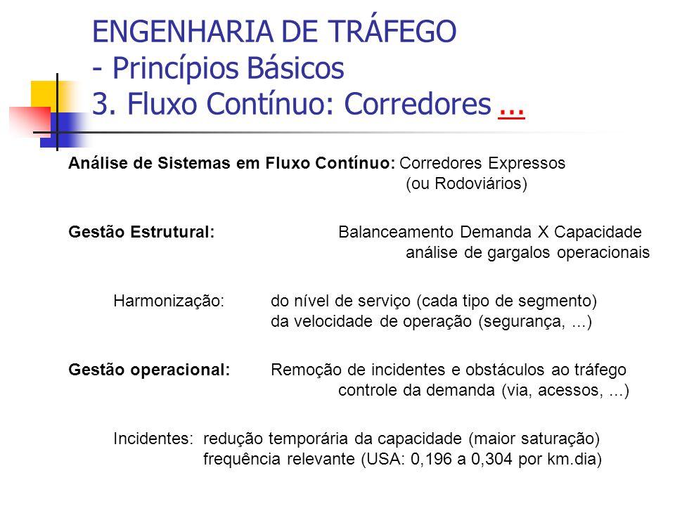 ENGENHARIA DE TRÁFEGO - Princípios Básicos 3.Fluxo Contínuo: Corredores......