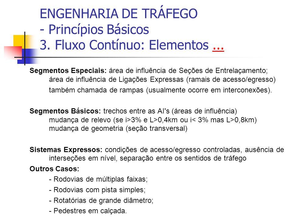 ENGENHARIA DE TRÁFEGO - Princípios Básicos 3.Fluxo Contínuo: Elementos......