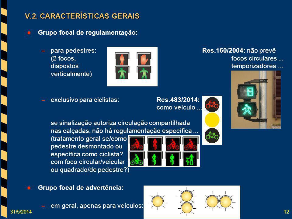 31/5/201412 Grupo focal de regulamentação: – para pedestres:Res.160/2004: não prevê (2 focos, focos circulares... dispostos temporizadores... vertical