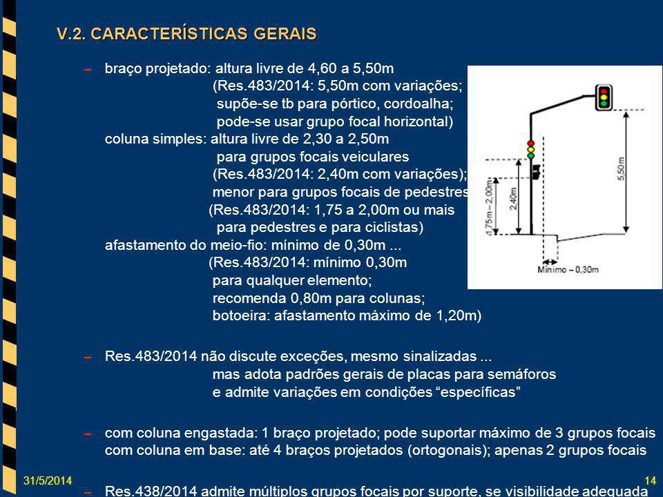 31/5/201414 V.2. CARACTERÍSTICAS GERAIS – braço projetado: altura livre de 4,60 a 5,50m (Res.483/2014: 5,50m com variações; supõe-se tb para pórtico,