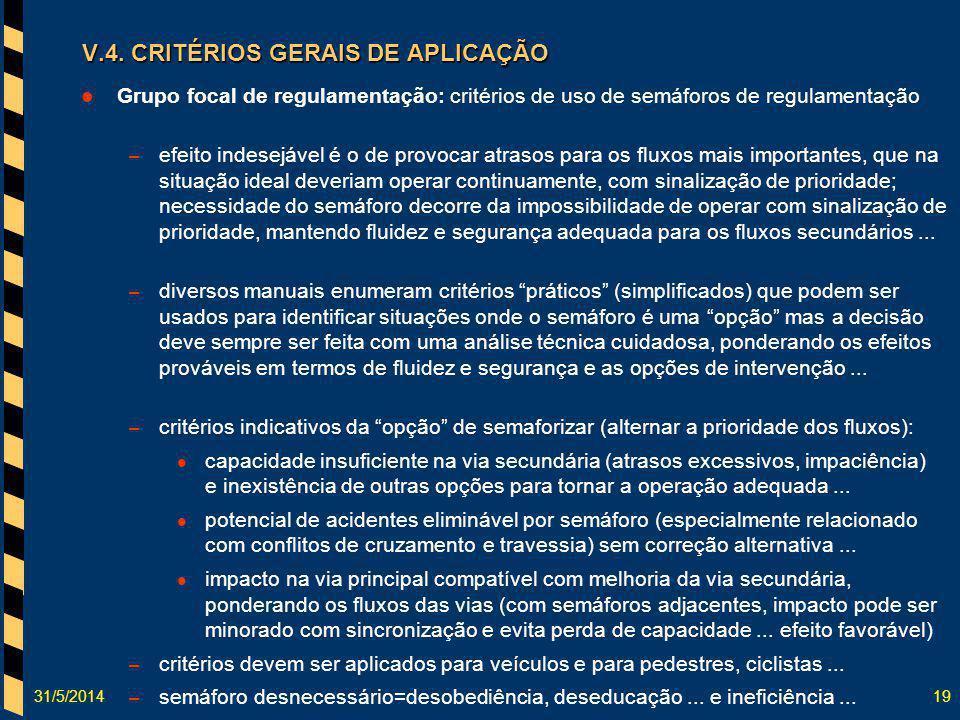 31/5/201419 Grupo focal de regulamentação: critérios de uso de semáforos de regulamentação – efeito indesejável é o de provocar atrasos para os fluxos