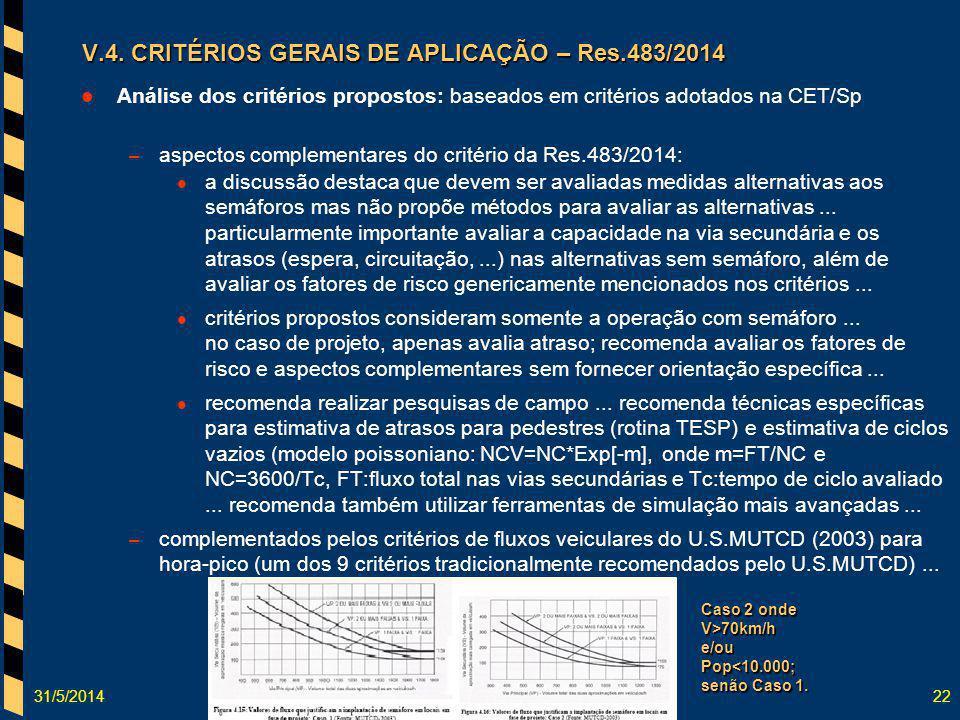 31/5/201422 Análise dos critérios propostos: baseados em critérios adotados na CET/Sp – aspectos complementares do critério da Res.483/2014: a discuss