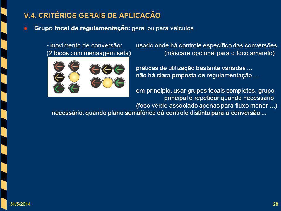 31/5/201428 Grupo focal de regulamentação: geral ou para veículos - movimento de conversão:usado onde há controle específico das conversões (2 focos c