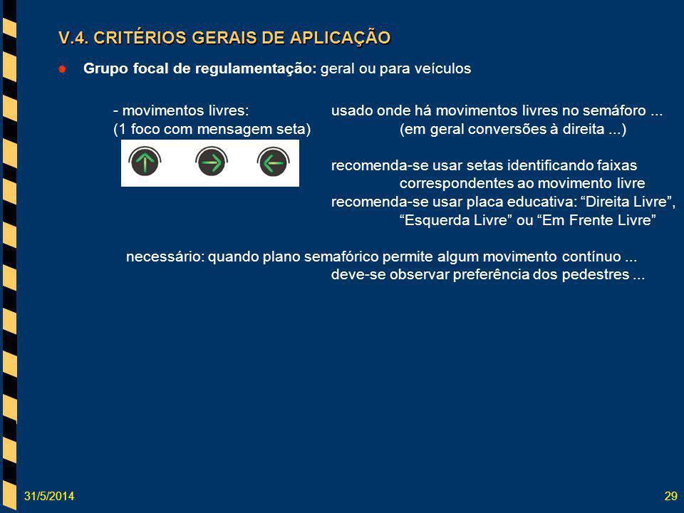 31/5/201429 Grupo focal de regulamentação: geral ou para veículos - movimentos livres:usado onde há movimentos livres no semáforo... (1 foco com mensa