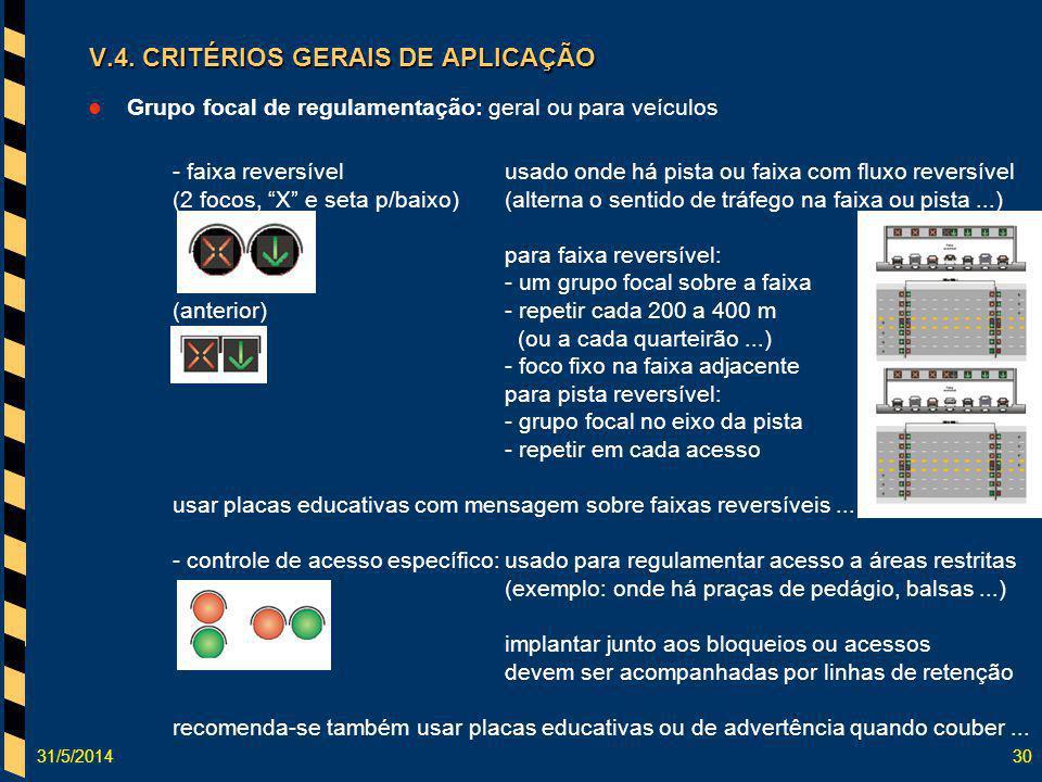 31/5/201430 V.4. CRITÉRIOS GERAIS DE APLICAÇÃO Grupo focal de regulamentação: geral ou para veículos - faixa reversívelusado onde há pista ou faixa co