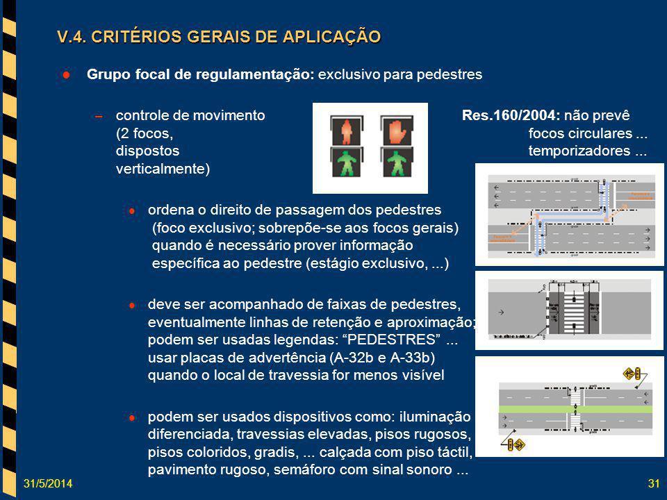 31/5/201431 V.4. CRITÉRIOS GERAIS DE APLICAÇÃO Grupo focal de regulamentação: exclusivo para pedestres – controle de movimentoRes.160/2004: não prevê