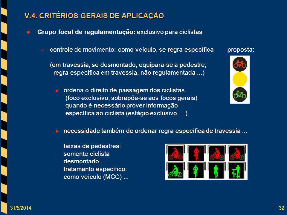 31/5/201432 Grupo focal de regulamentação: exclusivo para ciclistas – controle de movimento: como veículo, se regra específicaproposta: (em travessia,