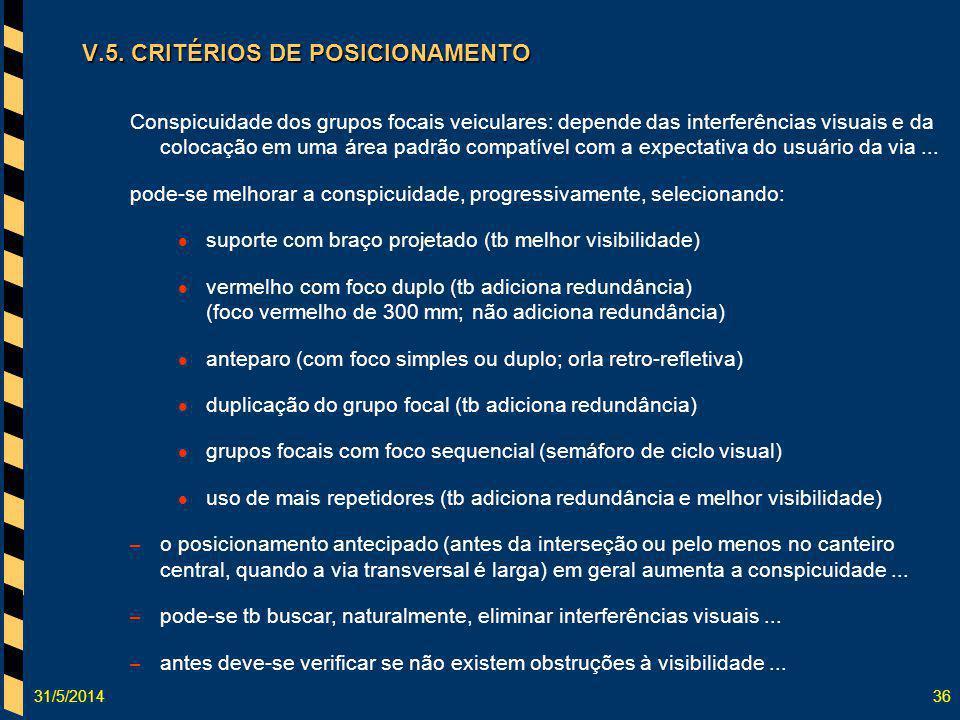 31/5/201436 V.5. CRITÉRIOS DE POSICIONAMENTO Conspicuidade dos grupos focais veiculares: depende das interferências visuais e da colocação em uma área