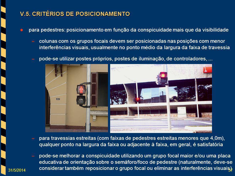 31/5/201437 V.5. CRITÉRIOS DE POSICIONAMENTO para pedestres: posicionamento em função da conspicuidade mais que da visibilidade – colunas com os grupo