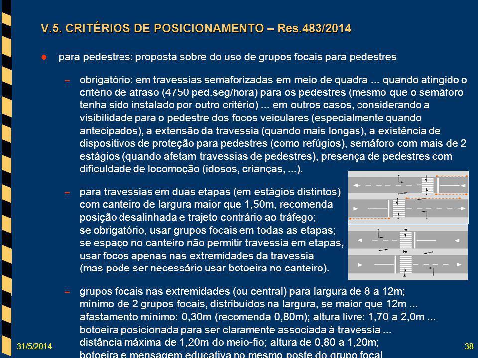 31/5/201438 V.5. CRITÉRIOS DE POSICIONAMENTO – Res.483/2014 para pedestres: proposta sobre do uso de grupos focais para pedestres – obrigatório: em tr