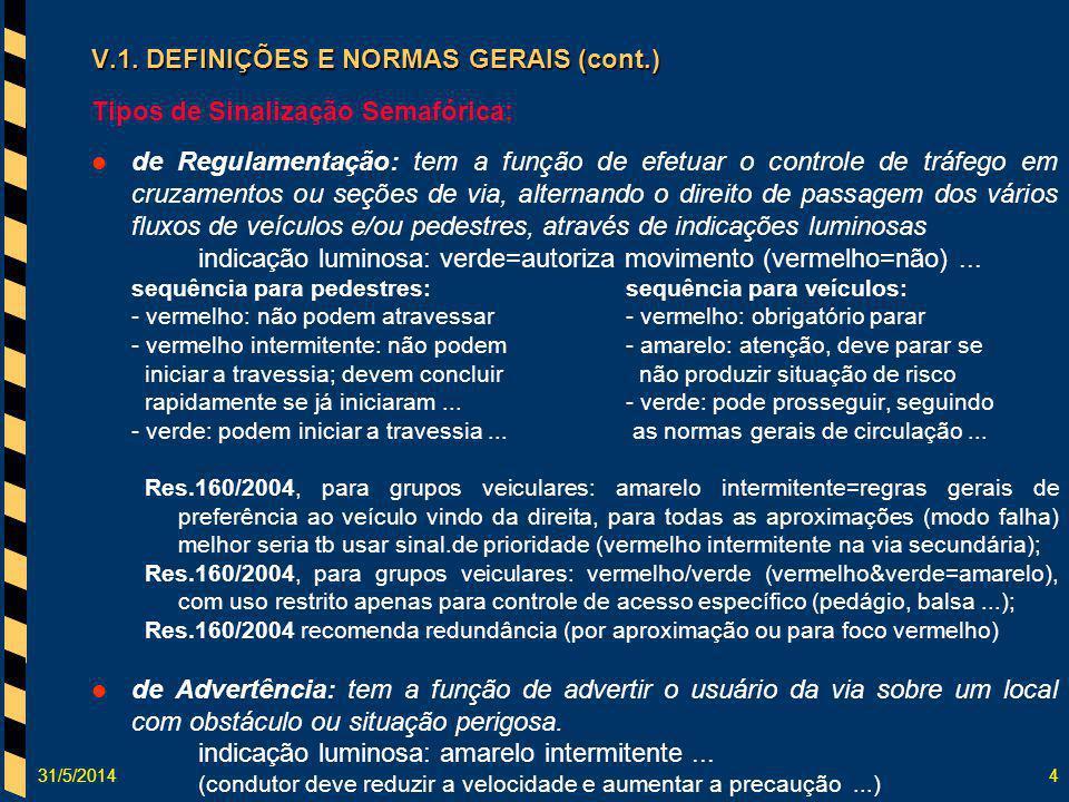 31/5/20144 V.1. DEFINIÇÕES E NORMAS GERAIS (cont.) Tipos de Sinalização Semafórica: de Regulamentação: tem a função de efetuar o controle de tráfego e