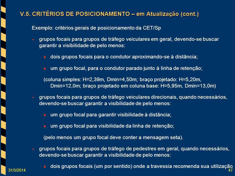 31/5/201447 V.5. CRITÉRIOS DE POSICIONAMENTO – em Atualização (cont.) Exemplo: critérios gerais de posicionamento da CET/Sp – grupos focais para grupo