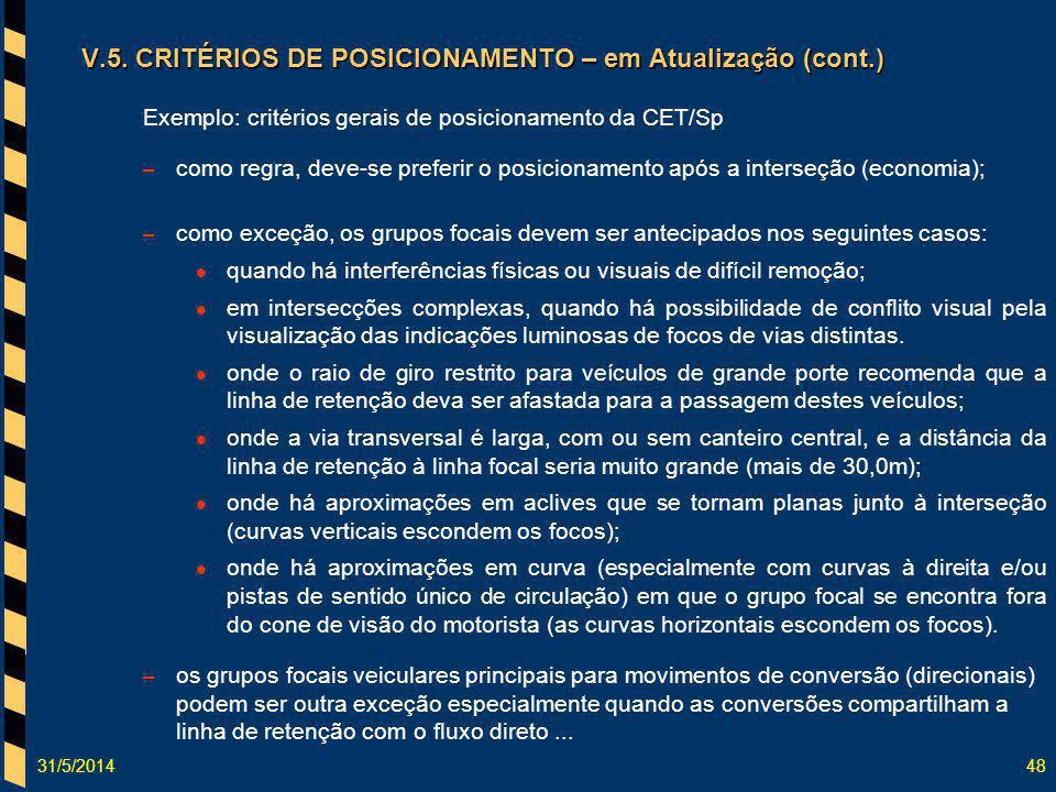 31/5/201448 Exemplo: critérios gerais de posicionamento da CET/Sp – como regra, deve-se preferir o posicionamento após a interseção (economia); – como