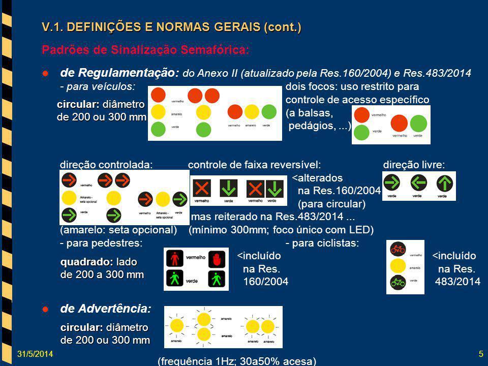 31/5/20145 V.1. DEFINIÇÕES E NORMAS GERAIS (cont.) Padrões de Sinalização Semafórica: de Regulamentação: do Anexo II (atualizado pela Res.160/2004) e