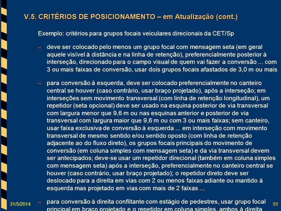 31/5/201451 V.5. CRITÉRIOS DE POSICIONAMENTO – em Atualização (cont.) Exemplo: critérios para grupos focais veiculares direcionais da CET/Sp – deve se