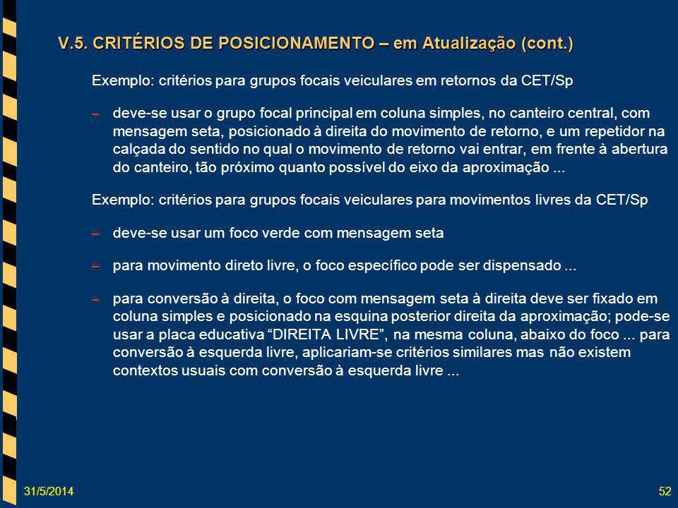 31/5/201452 V.5. CRITÉRIOS DE POSICIONAMENTO – em Atualização (cont.) Exemplo: critérios para grupos focais veiculares em retornos da CET/Sp – deve-se