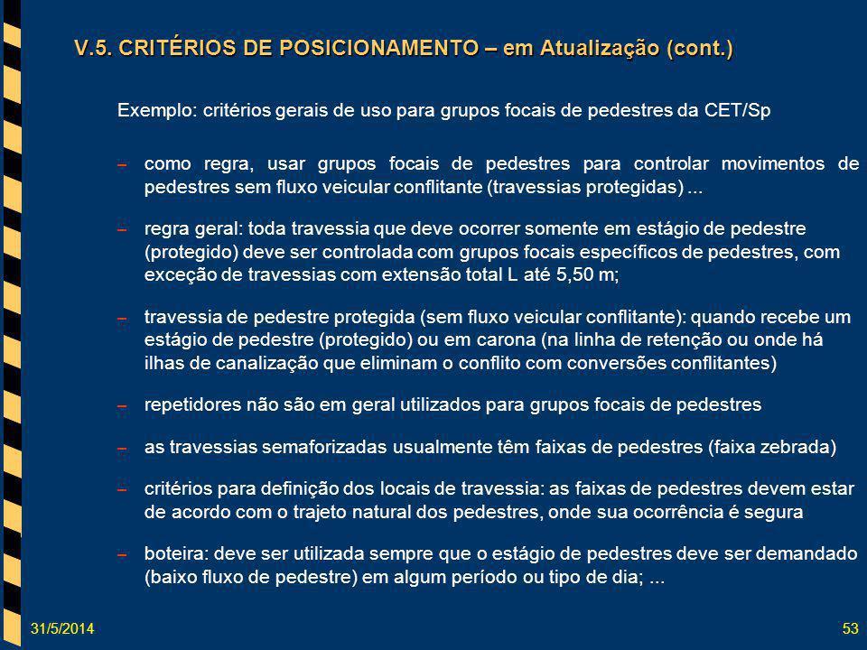 31/5/201453 Exemplo: critérios gerais de uso para grupos focais de pedestres da CET/Sp – como regra, usar grupos focais de pedestres para controlar mo