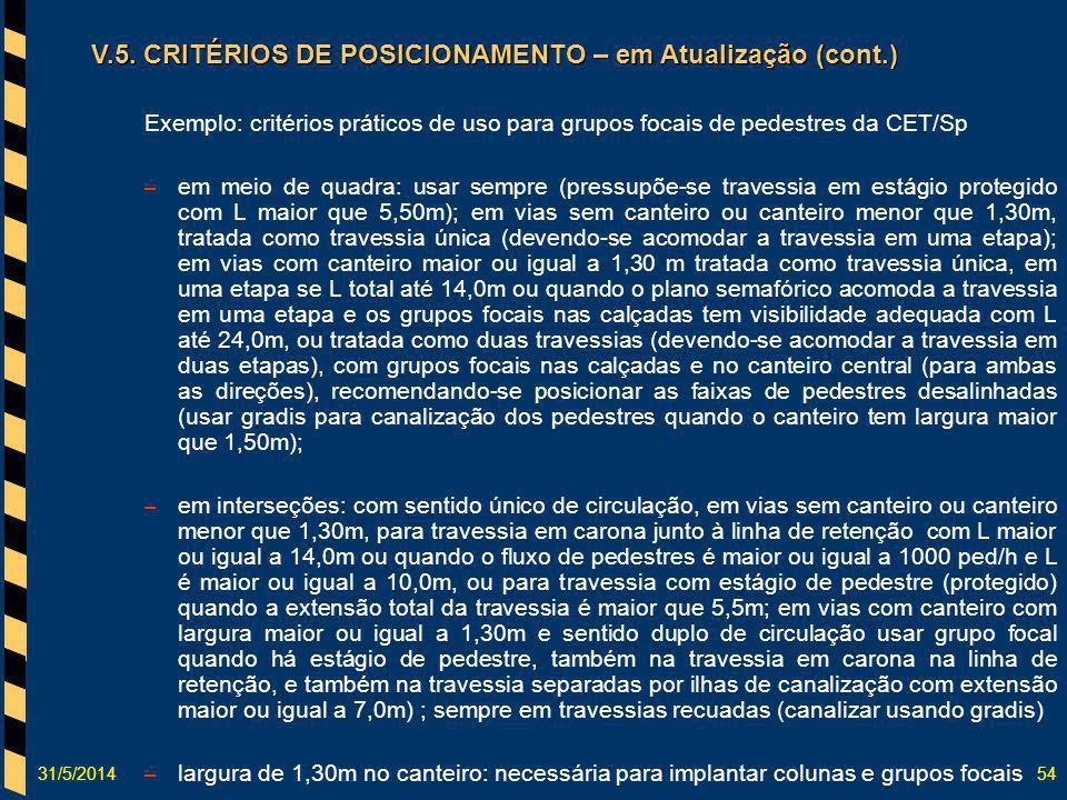 31/5/201454 Exemplo: critérios práticos de uso para grupos focais de pedestres da CET/Sp – em meio de quadra: usar sempre (pressupõe-se travessia em e