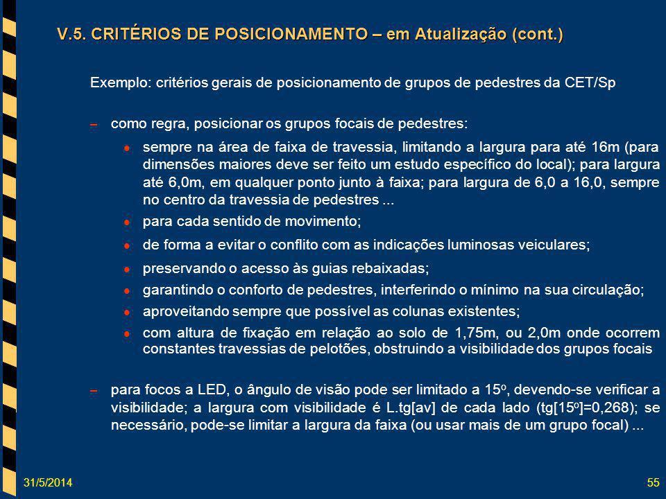 31/5/201455 V.5. CRITÉRIOS DE POSICIONAMENTO – em Atualização (cont.) Exemplo: critérios gerais de posicionamento de grupos de pedestres da CET/Sp – c