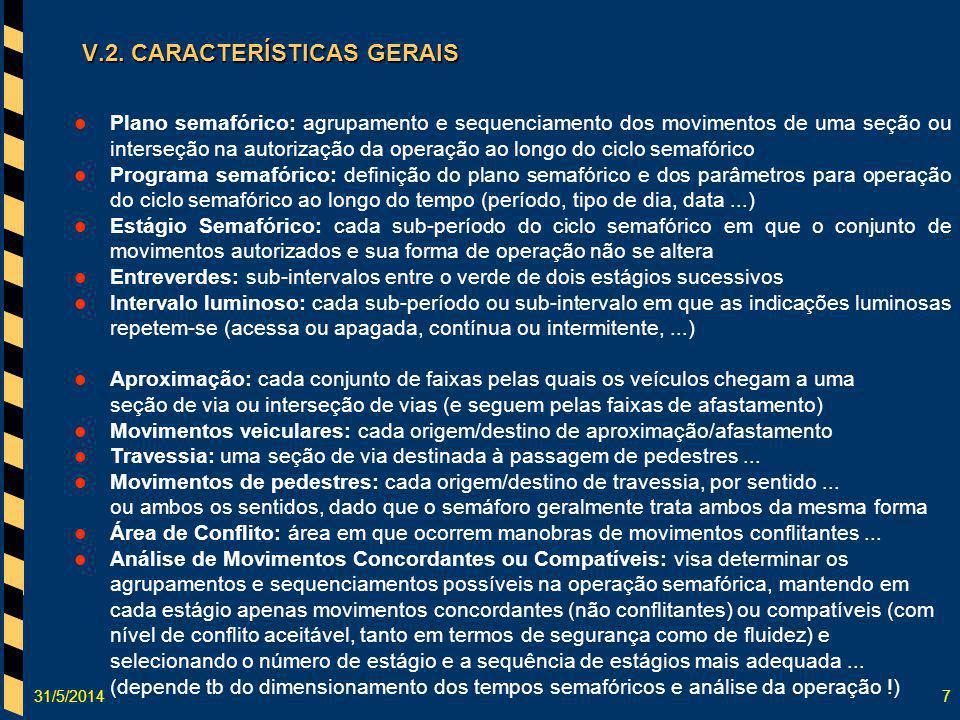 31/5/20147 V.2. CARACTERÍSTICAS GERAIS Plano semafórico: agrupamento e sequenciamento dos movimentos de uma seção ou interseção na autorização da oper