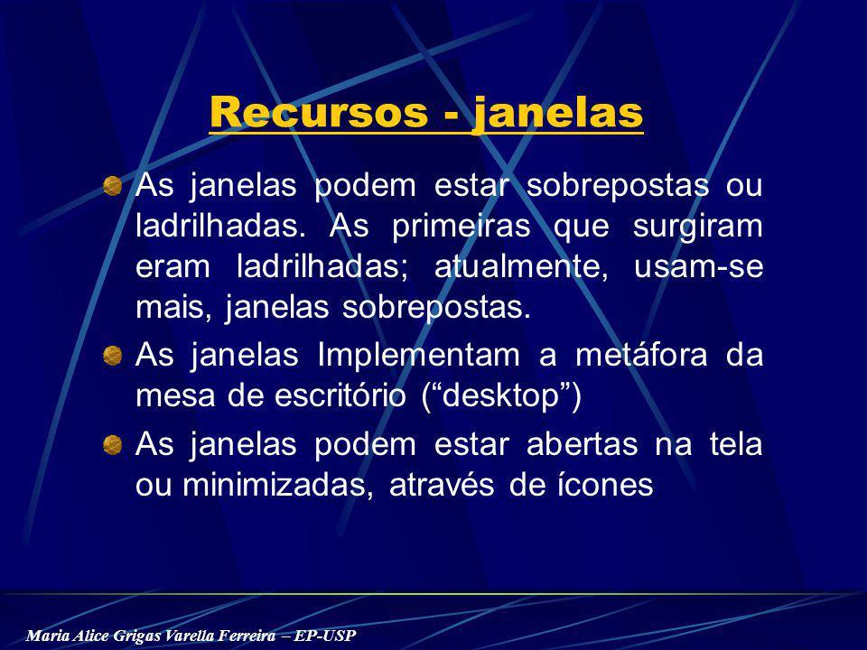 Maria Alice Grigas Varella Ferreira – EP-USP Recursos - janelas As janelas podem estar sobrepostas ou ladrilhadas.