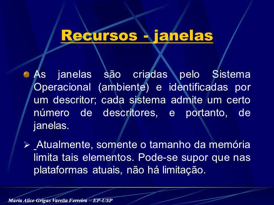 Maria Alice Grigas Varella Ferreira – EP-USP Recursos - janelas As janelas são criadas pelo Sistema Operacional (ambiente) e identificadas por um descritor; cada sistema admite um certo número de descritores, e portanto, de janelas.