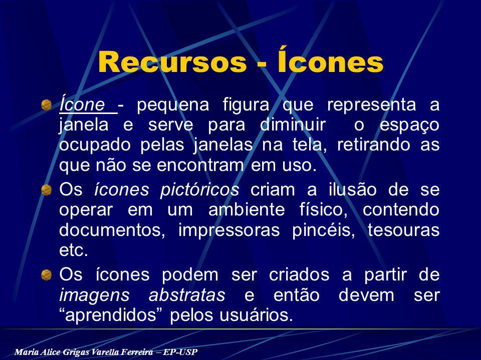 Maria Alice Grigas Varella Ferreira – EP-USP Recursos - Ícones Ícone - pequena figura que representa a janela e serve para diminuir o espaço ocupado pelas janelas na tela, retirando as que não se encontram em uso.