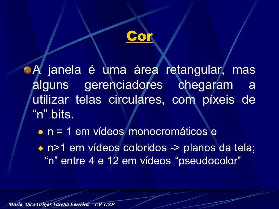 Maria Alice Grigas Varella Ferreira – EP-USP Cor A janela é uma área retangular, mas alguns gerenciadores chegaram a utilizar telas circulares, com píxeis de n bits.