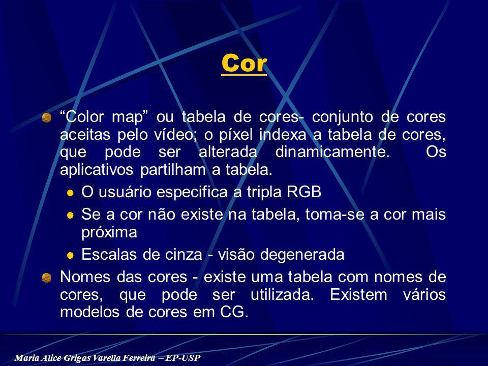 Maria Alice Grigas Varella Ferreira – EP-USP Cor Color map ou tabela de cores- conjunto de cores aceitas pelo vídeo; o píxel indexa a tabela de cores, que pode ser alterada dinamicamente.