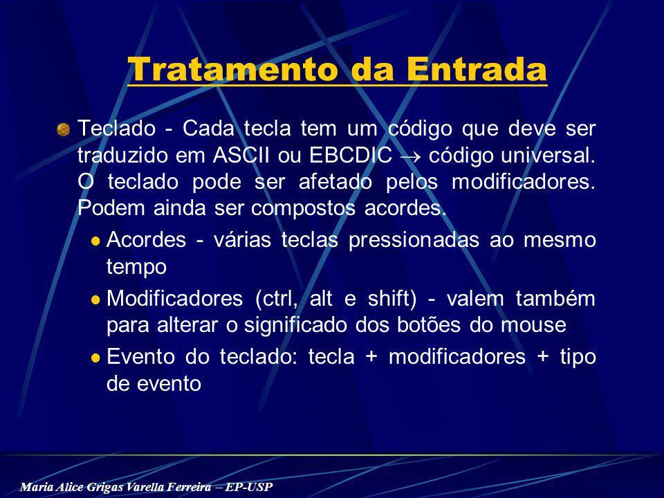 Maria Alice Grigas Varella Ferreira – EP-USP Tratamento da Entrada Teclado - Cada tecla tem um código que deve ser traduzido em ASCII ou EBCDIC código universal.