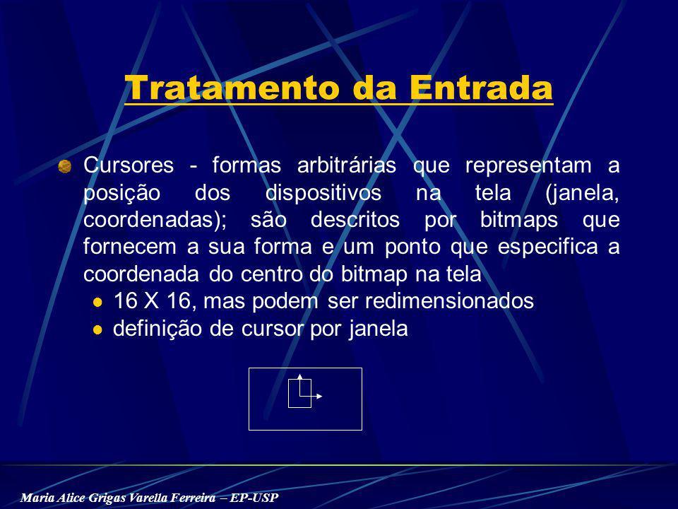 Maria Alice Grigas Varella Ferreira – EP-USP Tratamento da Entrada Cursores - formas arbitrárias que representam a posição dos dispositivos na tela (janela, coordenadas); são descritos por bitmaps que fornecem a sua forma e um ponto que especifica a coordenada do centro do bitmap na tela 16 X 16, mas podem ser redimensionados definição de cursor por janela