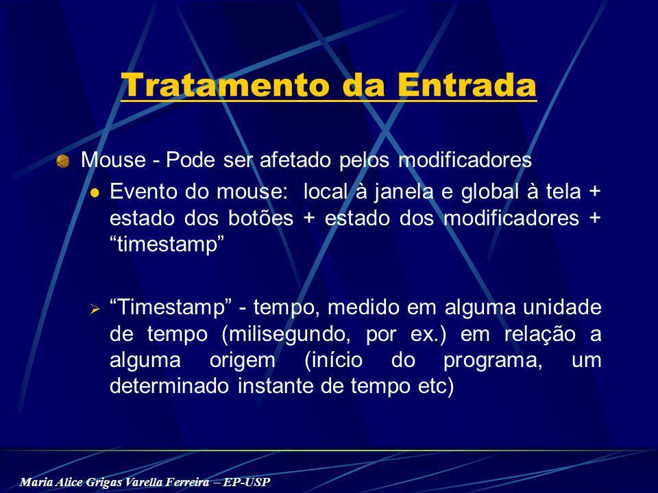 Maria Alice Grigas Varella Ferreira – EP-USP Tratamento da Entrada Mouse - Pode ser afetado pelos modificadores Evento do mouse: local à janela e global à tela + estado dos botões + estado dos modificadores + timestamp Timestamp - tempo, medido em alguma unidade de tempo (milisegundo, por ex.) em relação a alguma origem (início do programa, um determinado instante de tempo etc)