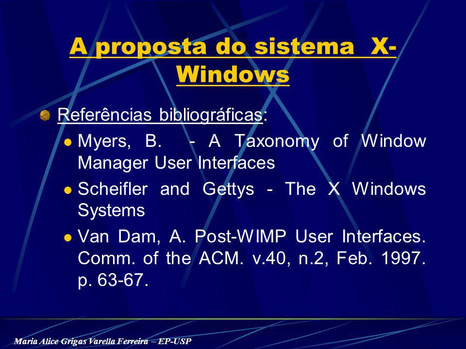 Maria Alice Grigas Varella Ferreira – EP-USP A proposta do sistema X- Windows Referências bibliográficas: Myers, B. - A Taxonomy of Window Manager Use