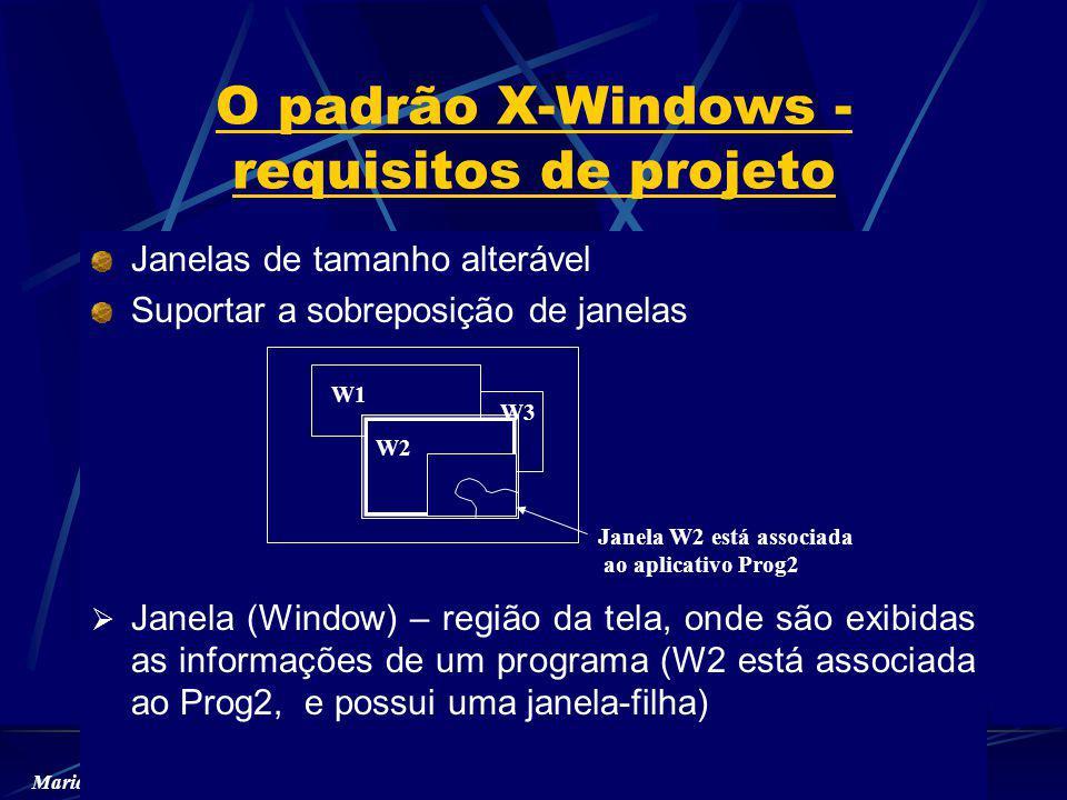 Maria Alice Grigas Varella Ferreira – EP-USP O padrão X-Windows - requisitos de projeto Janelas de tamanho alterável Suportar a sobreposição de janelas Janela (Window) – região da tela, onde são exibidas as informações de um programa (W2 está associada ao Prog2, e possui uma janela-filha) W1 W2 W3 Janela W2 está associada ao aplicativo Prog2
