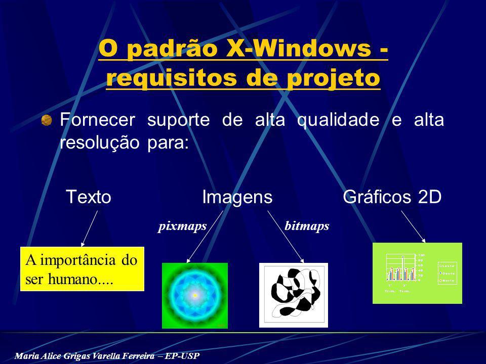 Maria Alice Grigas Varella Ferreira – EP-USP O padrão X-Windows - requisitos de projeto Fornecer suporte de alta qualidade e alta resolução para: Texto Imagens Gráficos 2D A importância do ser humano....