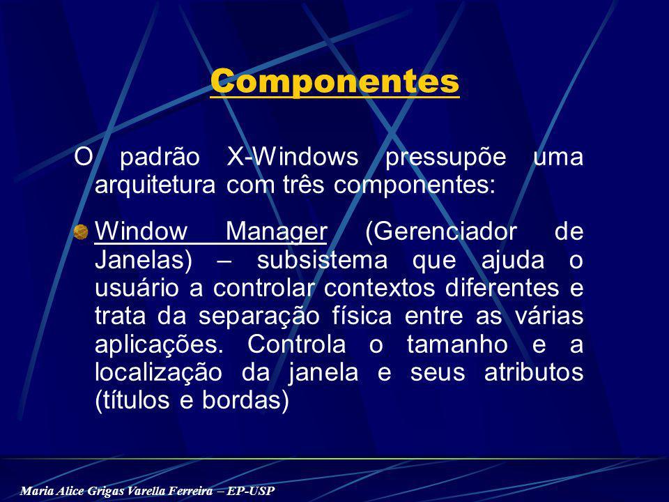 Maria Alice Grigas Varella Ferreira – EP-USP Componentes O padrão X-Windows pressupõe uma arquitetura com três componentes: Window Manager (Gerenciador de Janelas) – subsistema que ajuda o usuário a controlar contextos diferentes e trata da separação física entre as várias aplicações.