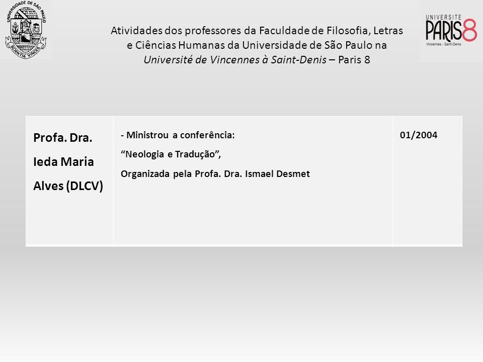 Profa. Dra. Ieda Maria Alves (DLCV) - Ministrou a conferência: Neologia e Tradução, Organizada pela Profa. Dra. Ismael Desmet 01/2004 Atividades dos p