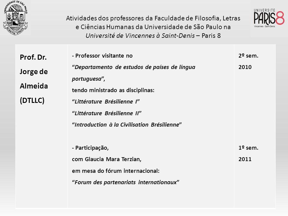 Prof. Dr. Jorge de Almeida (DTLLC) - Professor visitante no Departamento de estudos de países de língua portuguesa, tendo ministrado as disciplinas: L