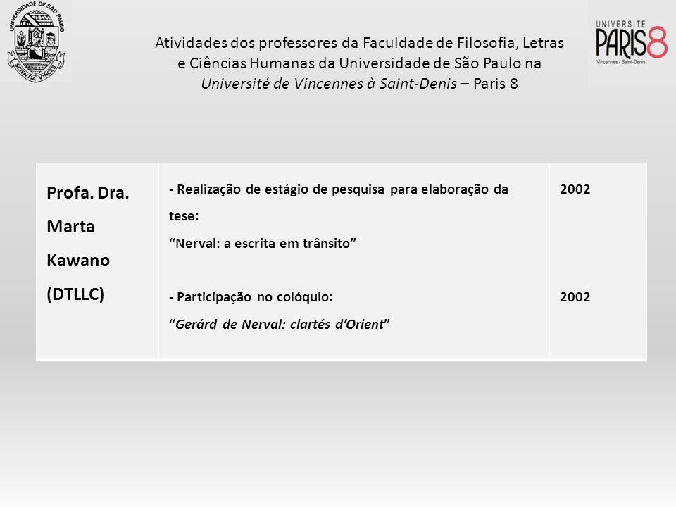 Profa. Dra. Marta Kawano (DTLLC) - Realização de estágio de pesquisa para elaboração da tese: Nerval: a escrita em trânsito - Participação no colóquio